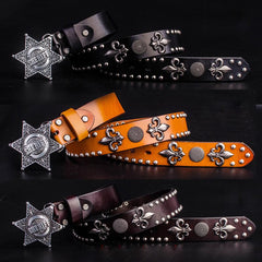 Handmade Genuine Leather Punk Rock West Cowboy Sheriff Mens Cool Men Biker Trucker Leather Belt