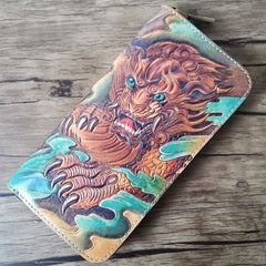 Handmade Leather Chinese Lion Tooled Mens Long Wallet Cool Leather Wallet Clutch Wallet for Men