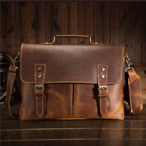 Cool Leather Mens Briefcase Business Briefcase Vintage Shoulder Bag HandBags for men