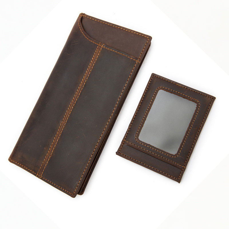 Vintage Mens Leather Long Wallet Cool Bifold Long Wallet Clutch For Men