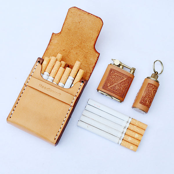 Cool Wooden Leather Mens 20pcs Cigarette Case Custom Beige Cigarette Holder for Men