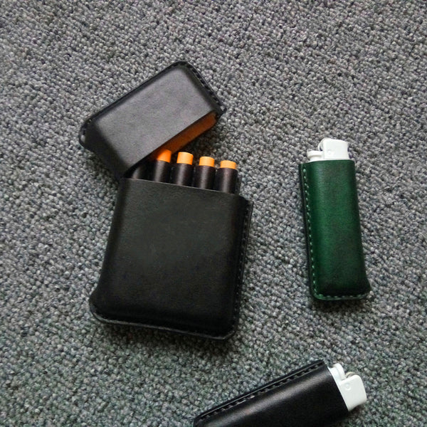 Cool Leather Mens 5pcs Cigarette Holder Case Vintage Custom Cigarette Case for Men