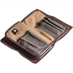 Handmade Leather Mens Cool Long Leather Wallet Bifold Bulky Clutch Wallet for Men