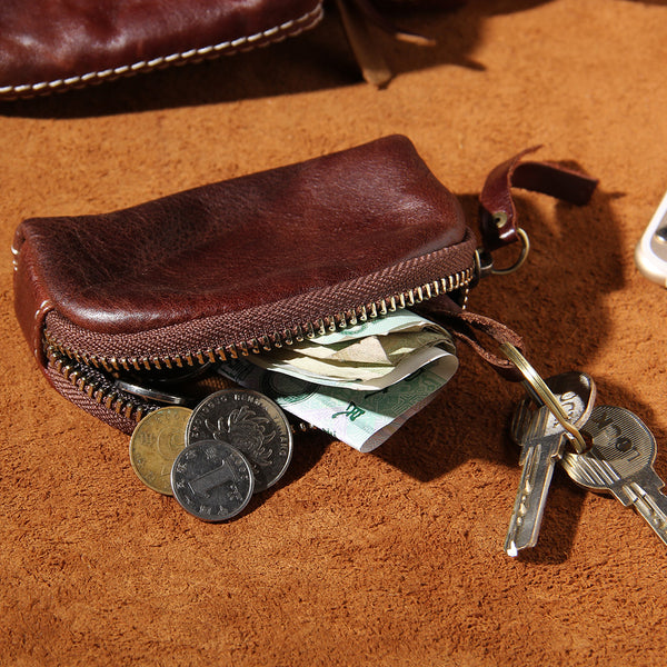 Mens Small Leather Change Wallet Pouch With Key Card Holder Car Key Case for Men