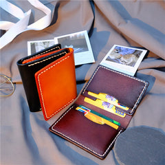 Handmade Leather Mens Cool Slim Front Pocket Card Wallet Leather Wallet Men Small Wallets  for Men