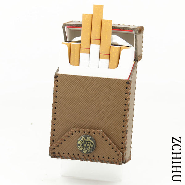 Handmade Cool Leather Mens Khaki Cigarette Holder Case Cigarette Holder for Men