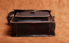 Handmade Leather Mens Cool Messenger Bag Square Bag Chest Bag Bike Bag Cycling Bag for men