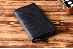 Genuine Leather Mens Cool Long Leather Wallet Bifold Clutch Wallet for Men