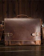 Cool Leather Mens Briefcases Business Briefcase Vintage Shoulder Bag HandBag for men