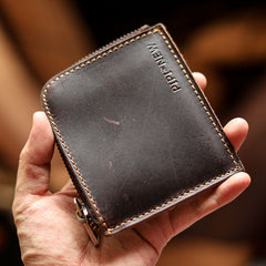 Handmade Slim Black Leather Mens Short Wallet Zipper Small Wallet Front Pocket Wallet For Men