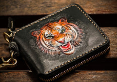 Handmade Leather Tiger Tooled Mens Short Wallet Cool Clutch Wristlet Bag Chain Wallet Biker Wallet for Men