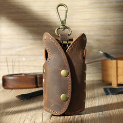 Vintage Brown Leather Mens Key Wallet Car Key Holders with Belt Clip for Men
