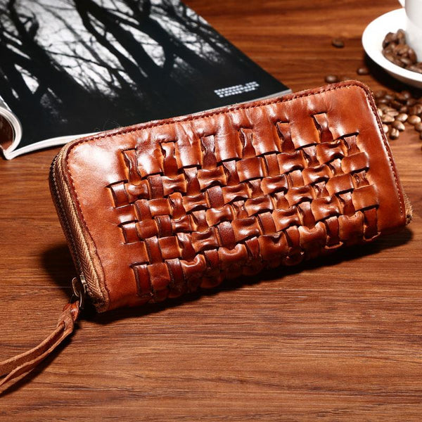 Vintage Braided Leather Mens Long Wallet Zipper Clutch Wallet For Men