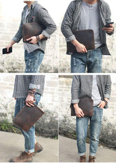 Vintage Business Leather Mens Brown Envelope Bag Document Purse Dark Brown Clutch For Men
