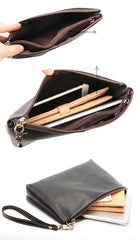 Vintage Business Leather Mens Black Long Wallet Phone Bag Purse Coffee Clutch For Men