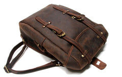 Vintage Coffee Leather Mens Backpack Travel Backpacks Laptop Backpack for men
