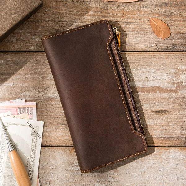 Vintage Cool Mens long Wallet Leather Wallet Long Wallet for Men