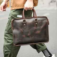 Vintage Dark Brown Leather Mens 14 inches Briefcase Black Work Briefcase Handbags For Men