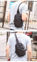 Vintage Dark Brown Leather Mens Chest Bag Black Sling Bag Sling Pack For Men