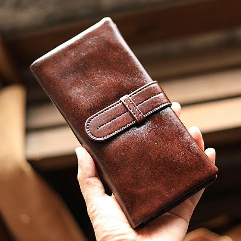 Vintage Red Brown Leather Mens Long Wallet Bifold Zipper Long Wallet For Men