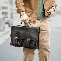 Vintage Dark Brown Mens Leather Briefcase Work Handbag Dark Coffee 14'' Computer Briefcase For Men
