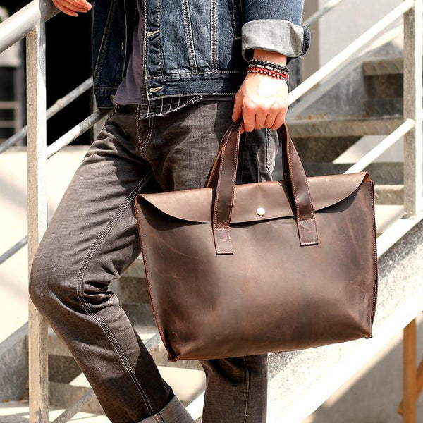 Vintage Dark Brown Mens Leather Briefcase Work Handbag Brown 15'' Computer Briefcases For Men