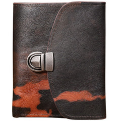 Handmade Leather Mens Graffiti Trifold billfold Wallet Vertical Small Card Wallet For Men