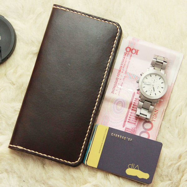 Vintage Leather Coffee Bifold Mens Long Wallet Leather Long Wallets for Men