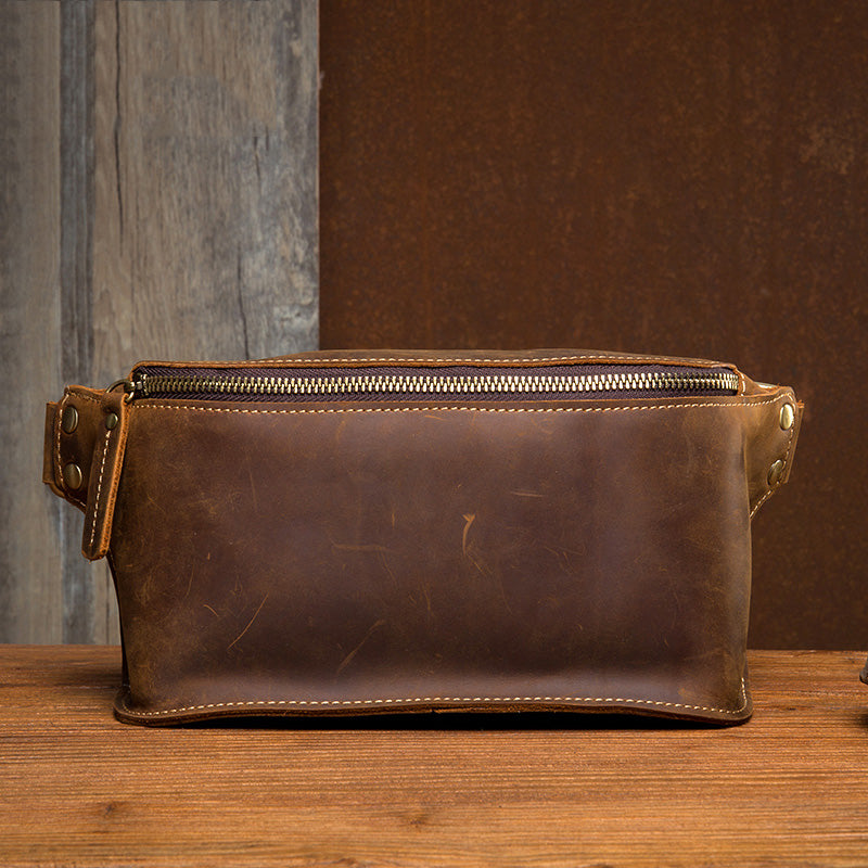 Vintage Leather Fanny Pack Mens Waist Bag Hip Pack Belt Bag Bumbag for Men