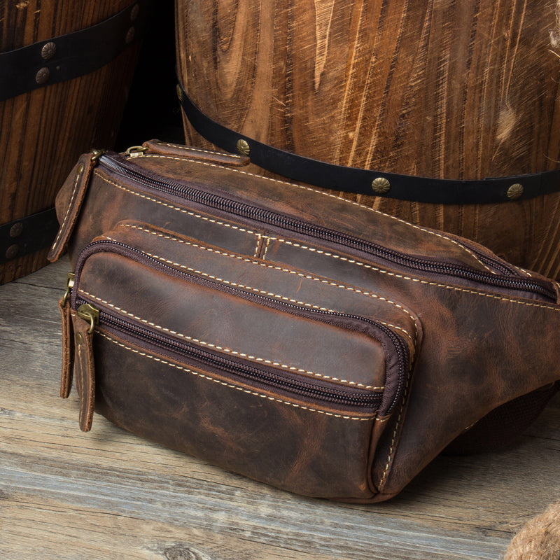 Vintage tobacco leather fanny pack