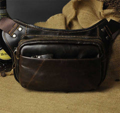 Vintage Leather Fanny Pack Mens Waist Bag Hip Pack Belt Bag for Men