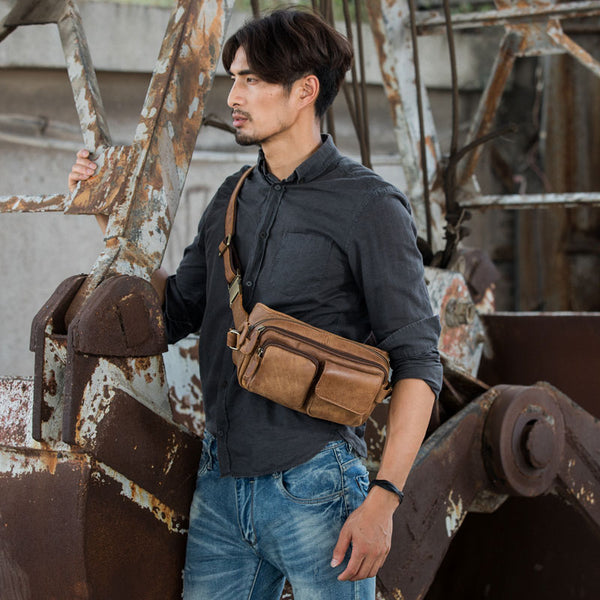 Vintage Leather Fanny Packs Mens Waist Bag Hip Pack Belt Bag for Men