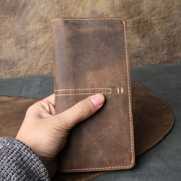 Vintage Leather Long Wallets for men Trifold Men Long Wallet