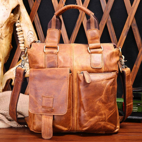 Leather Mens Vintage Briefcase Business Briefcase Work Briefcase For Men