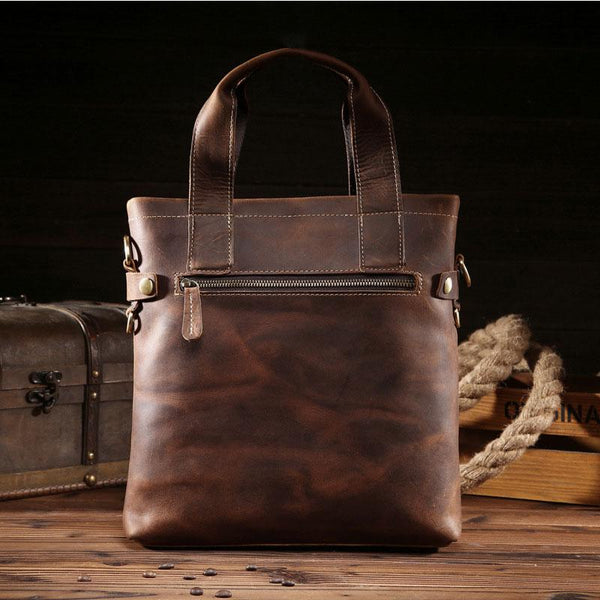 Vintage Leather Mens Handbag Briefcases Shoulder Bag Work Briefcase For Men