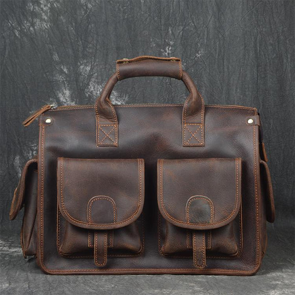 Vintage Leather Mens Large Travel Bag Weekender Cool Business Bag For Men