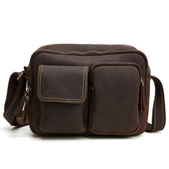 Vintage Cool Leather Mens Messenger Bags Shoulder Bag Cool CrossBody Bags For Men