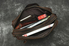 Vintage Leather Mens Cool Messenger Bag Cool Shoulder Bag CrossBody Bags For Men