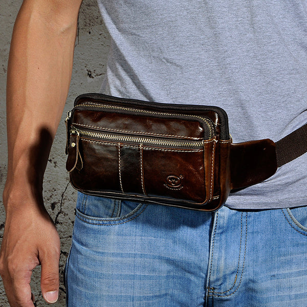 Vintage Leather Mens Fanny Pack Waist Bag Hip Pack Belt Bag Bumbag for Men