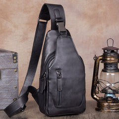 Vintage Leather Mens Sling Bag Crossbody Bag Chest Bag for men