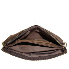 Leather Mens Brown Cool Small Messenger Bag Vintage Shoulder Bags For Men