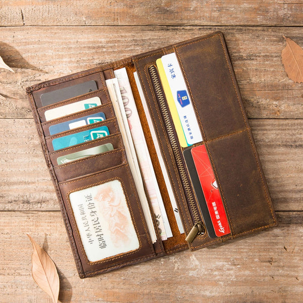 Vintage Slim long Wallets Leather Mens Tan Wallet Long Wallet for Men