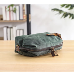 Waxed Canvas Leather Mens Women's Waterproof Cosmetic Bag Clutch Bag Handbag Storage Bag Wash Bag For Men