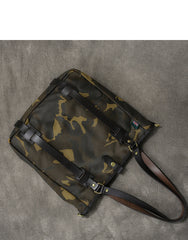 Waxed Canvas Leather Mens Womens 14'' Camouflage Tote Bag Handbag Tote Bag Shoulder Bag Tote Purse For Men