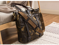 Waxed Canvas Mens Womens Handbag 14'' Tote Bag Camouflage Shoulder Bag Tote Purse For Men