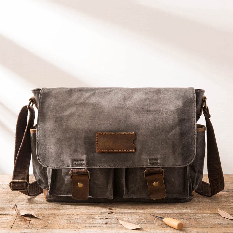 Waxed Canvas Messenger Bags for men Vintage Shoulder Bag for men –  iwalletsmen e1fcd0cbc974e