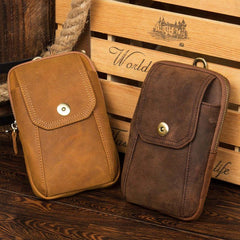 Yellow Brown Cool Mens Leather long Wallet Brown Leather Zipper Wallet Phone Bags Clutch for Men