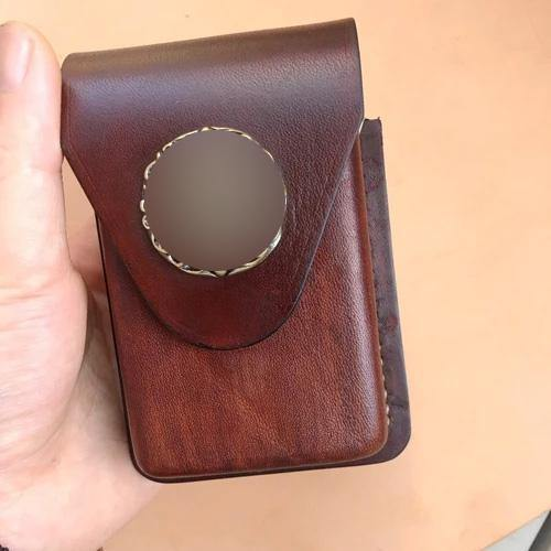 Cool Brown Leather Mens Cigarette Case Cigarette Holder Lighter Case Pouch with Belt Loop for Men