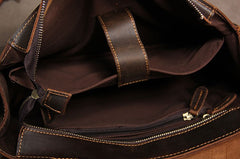 Genuine Leather Vintage Coffee Brown Mens Briefcase Work Bag Business Bag Messenger Bag for Men