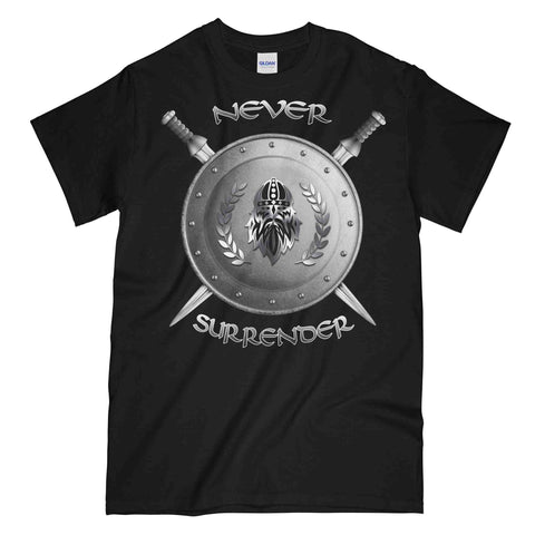 NEVER SURRENDER SHIELD AND SWORDS Printed T-Shirt
